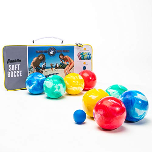 Franklin Sports Soft Bocce Set - 8 Soft Bocce Balls and 1 Pallino - Perfect for Beach, Backyard or Outdoor Party Game - Safe for Kids - Family Set