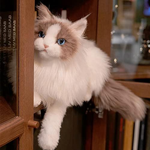 Chongker Stuffed Animals Handmade Realistic Ragdoll Cat Plush Companion Pet Gifts for Women Birthday Anniversary Cat Lover