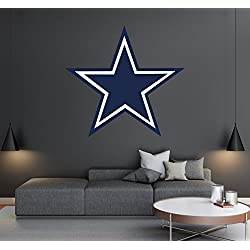 Dallas Cowboys - Football Team Logo - Wall Decal Removable & Reusable For Home Bedroom (Wide 20x20 Height)
