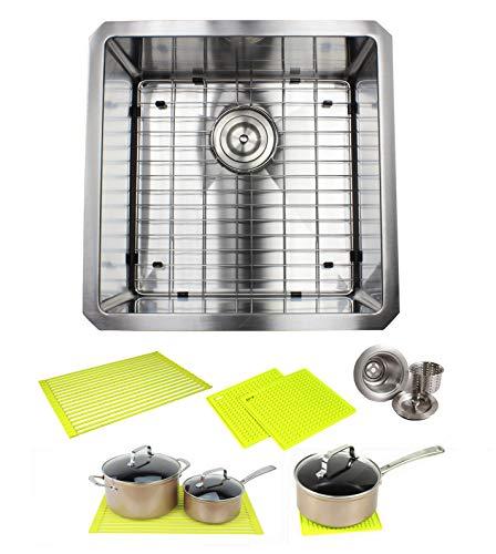 Ariel ARL-R1818 Premium 18 Inch Stainless Steel Bar Package by Ariel-16 Gauge Undermount Single Bowl Basin-Complete Sink Pack + Bonus Kitchen Accessories-Ideal for Home Improvement, Renovation