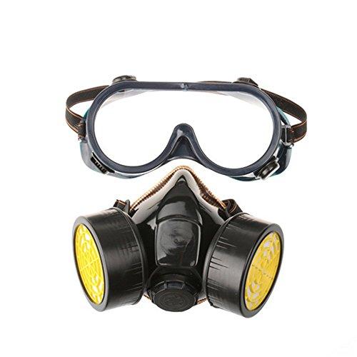Delmkin Profi Gasmaske Aktivkohle- Lackiermaske Atemschutzmaske mit 2 Filtern Anti-Staub, Pestizide, Formaldehyd, Farblack