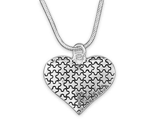 Fundraising For A Cause   Silver Autism Heart Necklaces with Engraved Puzzle Pieces – Autism Awareness Heart Pendant Necklaces & Jewelry for Fundraising Events and Gift-Giving silver
