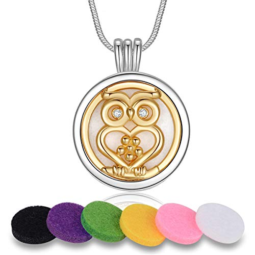 INFUSEU Owl Essential Oil Diffuser Anxiety Necklace for Women Girls Small Dainty Coin Pendant Aromatherapy Jewelry Set with Refill Felt Pads, 24 Inch Snake Chain