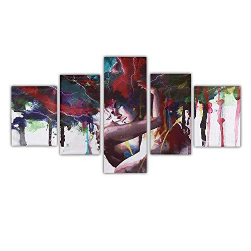 QFWM Impresión enmarcada, 5 piezas, pintura abstracta sobre lienzo, para pared, arte de pared