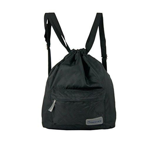 Doeever impermeabile borsa da palestra, unisex, qualità coulisse zaino borsa sportiva per nuoto, surf, arrampicata, viaggi, escursioni e campeggio, donna, Black, Taglia unica