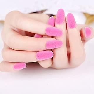 CoolNail Sexy Matte Pink Acrylic Fake Nails Fluffy Velvet Flocking Powder Decoration False Nail 24pcs Kit