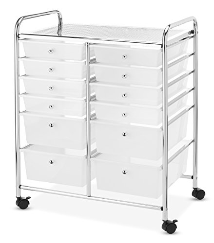 Whitmor Chrome and Plastic 12-Drawer Storage Cart
