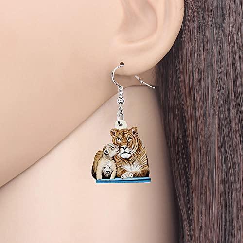 Acrílico sentado encantador bebé tigre pendientes Monther Day Dangle Salvajes Joyas de animales para las niñas mujeres Accesorios para las niñas mujeres Lasdies Adolescentes Niños Regalo-multicolor