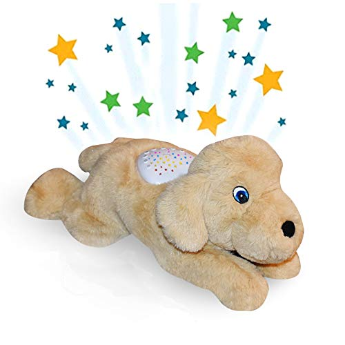 Baby Sleep Soother Star Projector White Noise Machine Rechargeable Lullaby Stuffed Plush Animal Dog cry Sensor Timer Rechargeable Night Light