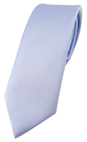 TigerTie schmale Designer Krawatte in hellblau einfarbig Uni - Tie Schlips