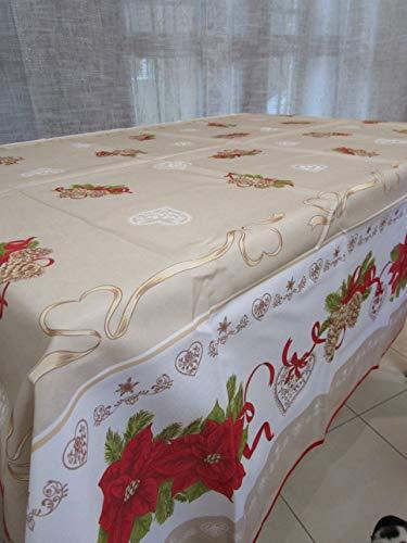 Mantel redondo antimanchas con diseño de estrella con lazo de Navidad, 100 % impermeable. Medidas: 180 cm de diámetro.