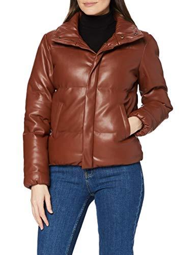 Marca Amazon - find. Pu Puffa Jacket Chaqueta Mujer, Marrón (Brown), 38, Label: S