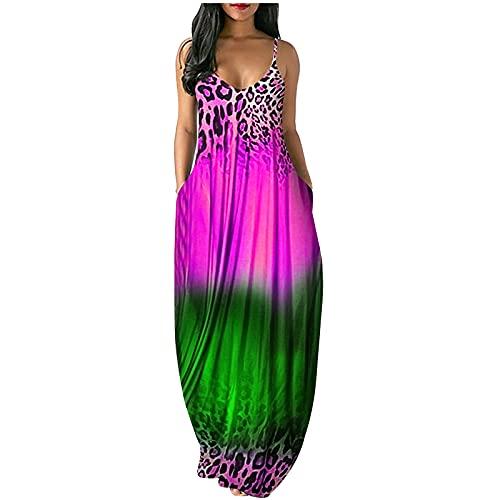 レディースマキシドレス、セクシーなVネックボービーチスカート、カジュアルな緩い花柄プリントロングドレス,グリーン,XL