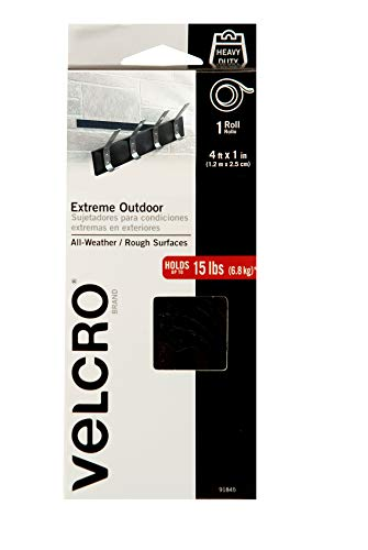 VELCRO Brand Extreme Outdoor Heavy Duty Tape | 4Ft x 1 In | Holds 15 lbs | Black Industrial Strength Adhesive Backed Hook and Loop Fasteners Roll | Strong Weather Resistant (91845)