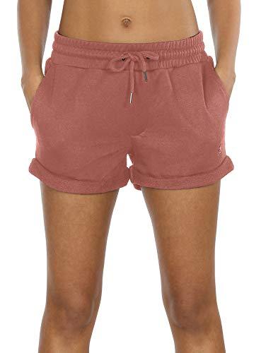 icyzone Damen Shorts Sport Yoga Kurze Hose Sweatpants Laufshorts Baumwolle (XL, Dusty Pink)