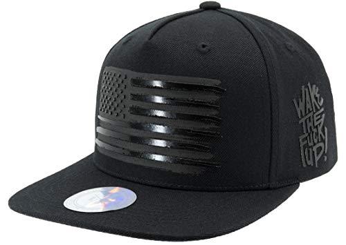 Flipper American Flag Flat Brim Bill Baseball Cap Snapback Hat for Men Women, Black, Adjustable, Free Size, One size