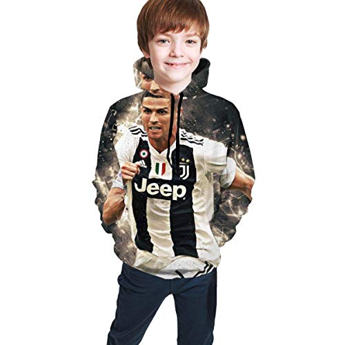 IUBBKI CRIS-Tiano Ro-Naldo Children's 3D Printed Long Sleeve Pullover Hoodie Sweatshirt for Boys/Girls/Teen/Kid's