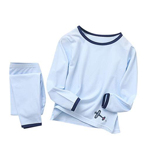 Enfants Petits Garçons Filles Coton Vêtements De Nuit Tenues 2Pcs Pyjamas Ensemble Homewear 2-8 Ans(Bleu,2-3Années)