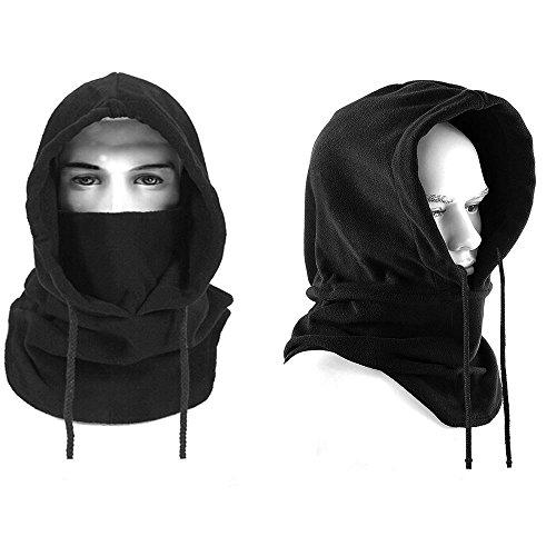 Pasamontañas unisex, Mincome forro polar con capucha máscara Balaclava para actividades de invierno al aire libre, tamaño talla única, negro