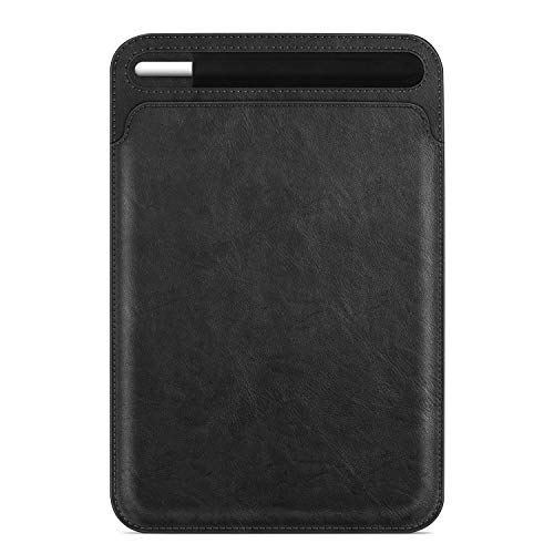 Fintie Sleeve with Pencil Holder for iPad Pro 11' 2020/2018, Slim Fit Vegan Leather Protective Cover Carrying Case Bag, Compatible with iPad 7th 10.2'/ iPad Air 10.5' 2019 / iPad Pro 10.5', Black