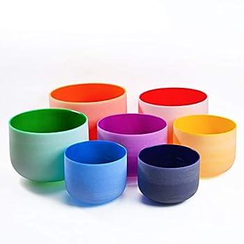 440HZ 6  -12   Set of 7 PCS Quartz Color Crystal Singing Bowls Sound Healing Meditation