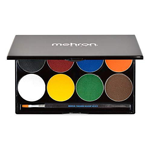Mehron Makeup Paradise AQ Face & Body Paint 8 Color Palette (Basic)
