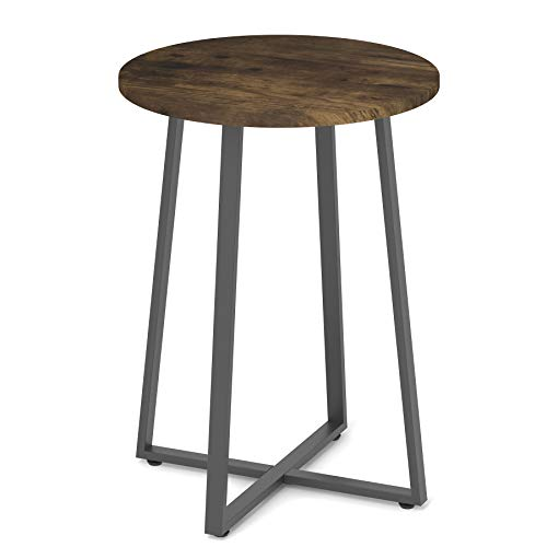 Kiimeey Round End Table D16.5 Vintage Industrial Small Side Table Metal Legs for Patio Living Room