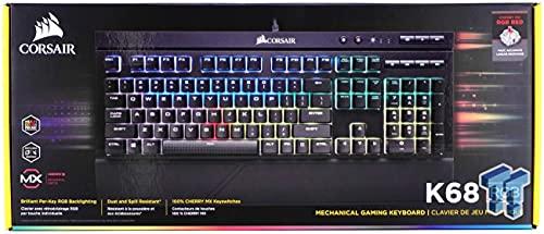 Corsair K68 RGB Tastatur USB QWERTY Englisch Schwarz - Tastaturen (Standard, USB, Mechanischer Switch, QWERTY, RGB-LED, Schwarz)