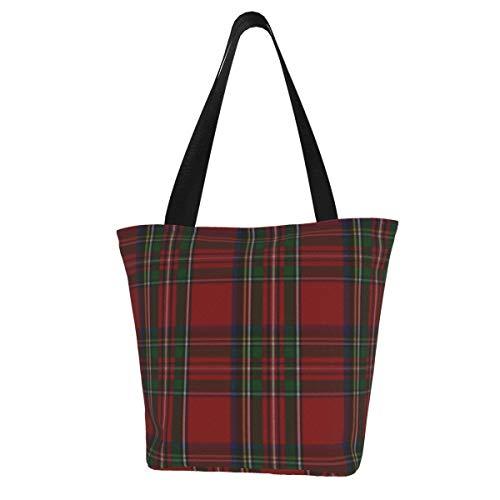 Personalisierte Leinen-Tragetasche, stilvolle Royal Stewart Tartan Plaid waschbare Handtasche Schultertasche Einkaufstasche für Frauen