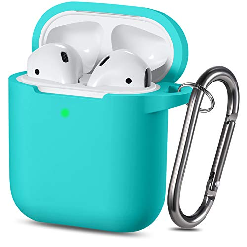 Wepro Protective Cover Designed for AirPod Case (Front LED Visible), Silicone Cases Cover Skin Compatible with AirPods 2 & 1 Charging Case, with Keychain, Boys, Girls (Teal)