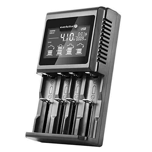 everActive UC-4000 - Cargador para 4 Pilas 18650 AAA AA C D, Profesional, rápido y Gran Pantalla LCD, Prueba de Capacidad