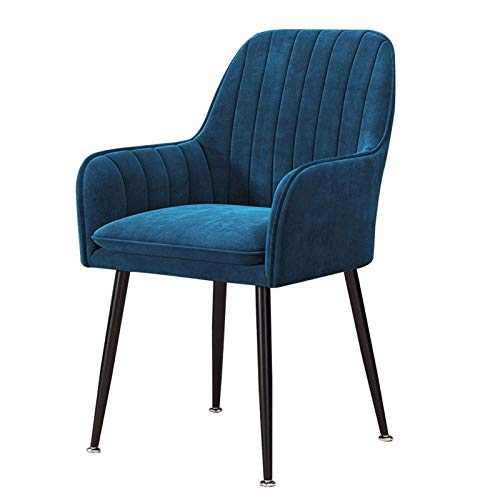 Dining Chair Comfortable Padded Seat Upholstered Armchair Sturdy Metal Legs Modern Office Lounge Dressing Dining Kitchen (Color : Navy Blue)