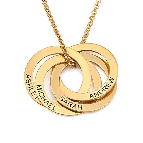 MyNameNecklace Collar de anillo ruso con cuatro anillos (Chapado en Oro 18k)