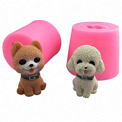 2 Pack Small 3D Puppy Dog Silicone Candle Molds, Cute Pomeranian & Poodle Chocolate Candy Fondant Mold Cake Decorating Tool Poodle Making Candle Soap Resin Plaster Crayon Wax Melt Mold