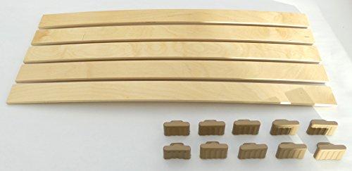 BOSSASHOP.de Set: Federholzleisten (8x53mm) + Befestigungs Kappen zur Selbstmontage für Futon, Bett oder Caravan | Stärke/Höhe 8mm x Breite 53mm (10 Kappen + 5 Leisten (Länge 800mm))