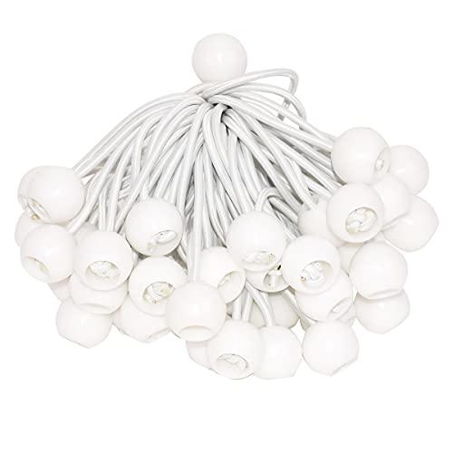 DEDC 50 Stück Spanngummis -10cm Zelt Gummispanner mit Kugel Expanderschlingen Planenspanner Ball Bungee Cords für Banner, Planen, Zelte, Planenhalter, Fahnenmasten (Weiß)