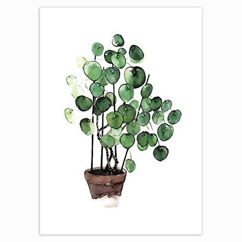 N/ A Nordische Tropische Pflanzen Skandinavische rahmenlose Plakatgrünblattdekorationsmalerei Moderne Wandkunst Leinwandmalerei Hauptdekoration B05 30x45cm kein Rahmen