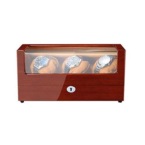 WXDP Bobinador automático de reloj, caja de lujo, caja giratoria de madera, alimentación por CA y pilas (color : tres)