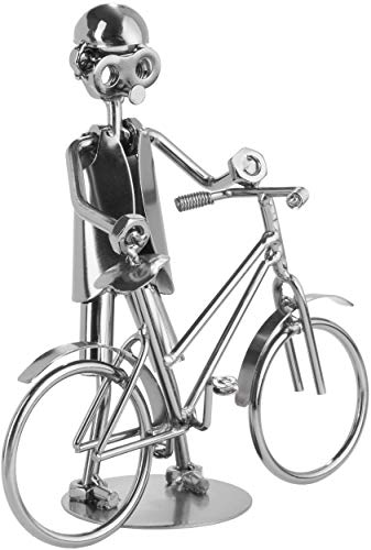 BRUBAKER Schraubenmännchen Fahrrad - Handarbeit Eisenfigur Metallmännchen - Metallfigur Geschenkidee für Fahrradfahrer und Fahrradverkäufer