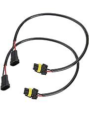 Duokon 2 unids 53 cm / 20.9 Pulgadas H11 Hembra 9006 HB4 9012 9006XS Macho Faro antiniebla Adaptador de conversión de luz Adaptador de Conector de Cable