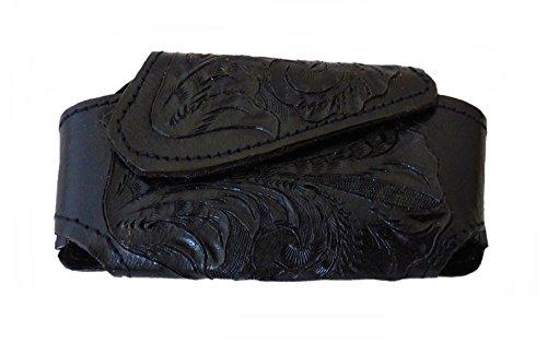 Gürteltasche Leder Handytasche Messertasche schwarz punziert mit Klettverschluß