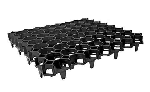 FORTENA befahrbare Rasengitter Platten - 50 x 50 x 4 cm, schwarz, aus hochrobustem Kunststoff, zur Parkplatzbefestigung, Bodenstabilisierung, Rasenbefestigung, belastbar mit PKW bis zu 1000t/m