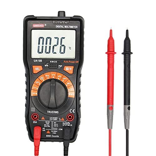 JHYS Multímetro de Rango automático, multímetro Anti-Quemado de Mano con Pantalla Digital Que Mide Temperatura, Corriente alterna, Corriente Continua, batería, Voltaje CC, Resistencia, capacitancia,