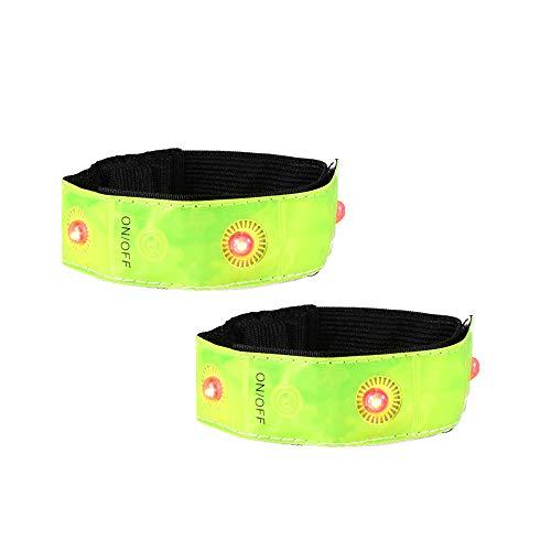 Kraeoke Juego de 2 pulseras LED reflectantes, pulsera de seguridad para la noche, para niños, correr, hacer senderismo con perros