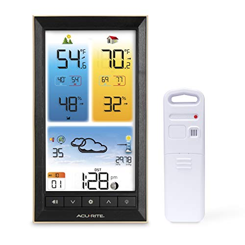 AcuRite 01201M Vertical Wireless Color Weather Station with Indoor/Outdoor Temperature Alerts, 12 x 10.75 Inches, Black