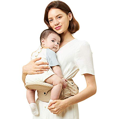 ベベフィットライトー折りたたみ式ベビーヒップシート【安全基準認証取得】最大50kgまで、超軽量、多機能、ウエストポーチ、0~36ヶ月新生児、赤ちゃん、抱っこひも/サムスン電子特許、出産プレゼント (ベージュチェック)
