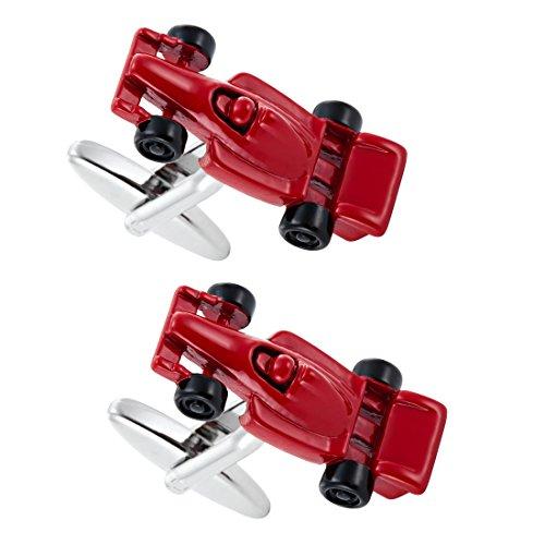 Boutons de manchette course formule 1 acier inoxydable rouge accessoire pour hommes