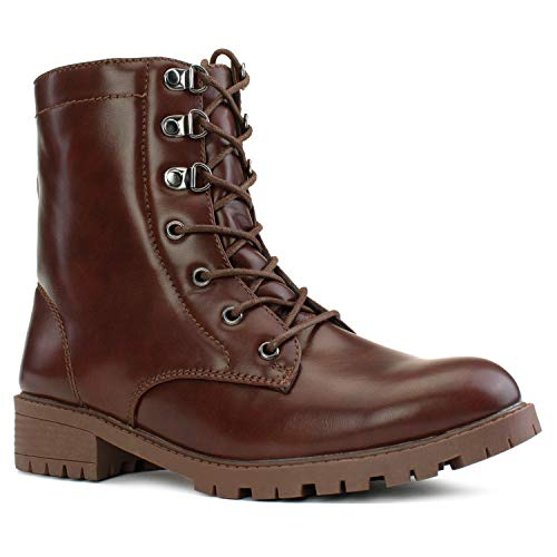 RF ROOM OF FASHION Women's Wide Width Lug Sole Ankle Combat Hiking Boots w Pocket