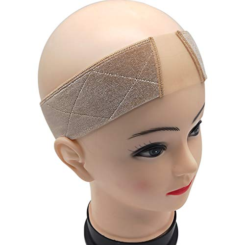 Wig Grip Headbands for Women Adjustable Velvet Lace Wig Grip Band for Frontal Lace Wigs Non Slip 1PCS (Beige)