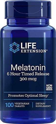 Life Extension Melatonin 6 Hour Time Released Vegetarian, 300 mcg 100 Vegetarian Tablets
